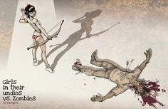 girls in undies VS zombies 3