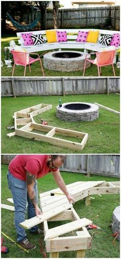 Best DIY Outdoor Fire Pit Ideas DIY fire pit ideas also add a glamorous look to your interior and exterior décor with their amazing and unique designs. The post Best DIY Outdoor Fire Pit Ideas appeared first on Outdoor Diy. Fire Pit Bench, Fire Pit Decor, Fire Pit Seating, Fire Pit Area, Backyard Seating, Seating Areas, Garden Seating, Fire Pit Swings, Outdoor Seating