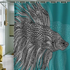 DENY Designs Valentina Ramos Beta Fish Shower Curtain - love the teal, great color for a bathroom... not too sure about the fish! FULL ON I MUST HAVE THIS
