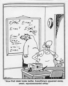 Science in Seconds Gary Larson Far Side E=MC2 Einstein