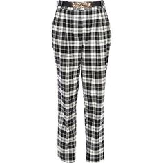Black and white tartan high waisted trousers #riverisland