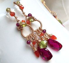Tropical Bliss Earrings by SparrowsJewels - love these colors
