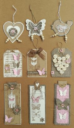 Made with: linen, kraft, white & a touch of pinkT T button hearttags and bookmarkstime consuming but lovely!Home Decor and Craft ideas Card Tags, Gift Tags, Handmade Tags, Candy Cards, Paper Tags, Scrapbook Embellishments, Tag Art, Scrapbook Pages, Paper Flowers