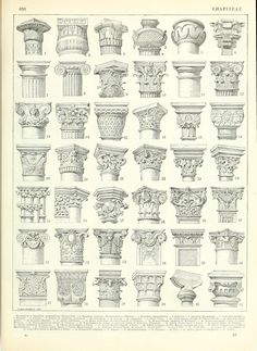 Architectural drawing - capitals of different column orders and designs