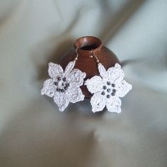 Crocheted Light-grey Cotton Flower Earrings,Crocheted jewelry with beads