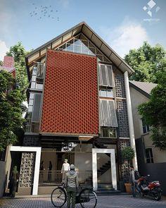 "350 Suka, 9 Komentar - Azhar (@azmydesign) di Instagram: ""Rumah Quran Luas lahan 10 x 17,5 m2 3 lantai, lantai dasar area administrasi, lantai 2 dan 3 ruang…"" Industrial, House Design, Outdoor Decor, Home Decor, Decoration Home, Room Decor, Industrial Music, Architecture Design, Home Interior Design"