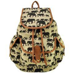 Elephant print cute school girl backpack