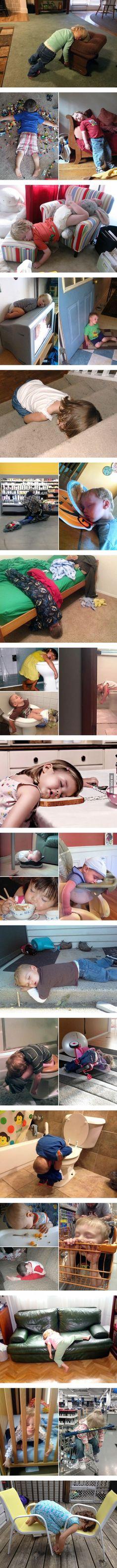 Kids can fall asleep anywhere