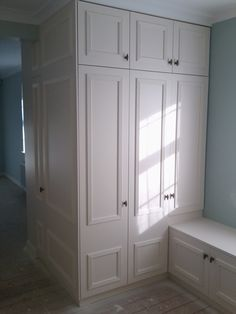 Bespoke mdf wardrobes spray finished with F eggshell Wouldn't mind some storage like this!