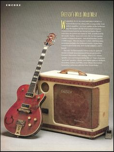 The 1956 Electromatic Amp. Gretsch's Wid, Wild West. The 1955 Round Up guitar. These ads have become highly sought after by collectors primarily due to the unique artwork utilized by the ad's promoter.   eBay!