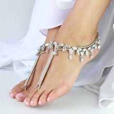 1 coppia cavigliere d'argento a piedi nudi sandali di ForeverSoles