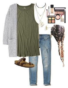 """School"" by adyphillips on Polyvore featuring Hollister Co., MANGO, Kendra Scott, Too Faced Cosmetics, Huda Beauty, MAC Cosmetics, L.A. Girl and Birkenstock"