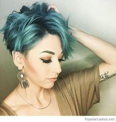 Wonderful short blue hair color