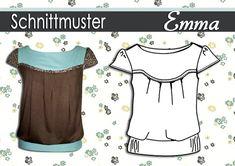 """Tops & jasjes - Schnittmuster/Ebook Shirt """"Emma"""" Gr:36-44 - Een uniek product van schnipp-schnapp-77 op DaWanda"""