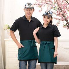 Waiter Uniform, Hotel Uniform, Restaurant Uniforms, Chef Apron, Work Uniforms, Contrast Collar, Candy Colors, Huaraches, Workwear