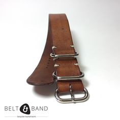 Single Piece Strap w/ natural seude under-side and with white accent Stitches. Watch Straps, Zulu, Handmade Leather, Polished Nickel, Solid Brass, Calves, Band, Luxury, Brown