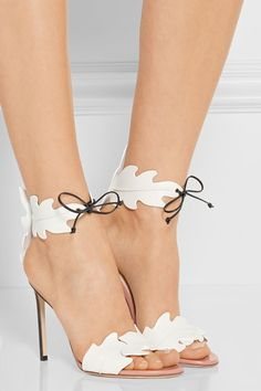 Heel measures approximately 105mm/ 4 inches White leather Ties at ankle Made in Italy