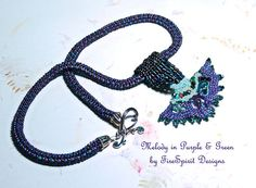 Melody in Purple & Green- beadwoven necklace by FireSpirit Designs on Etsy, $65.00