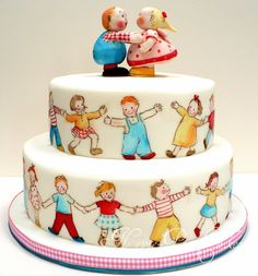 fondant figurines and some amazing cake-painting inspired by the nostalgic children's illustrations of Lucie Attwell.   BY Nevie-Pie Cakes