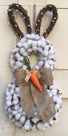 Bunny door decorCotton bunny wreathEaster by DesignsbySheilaB