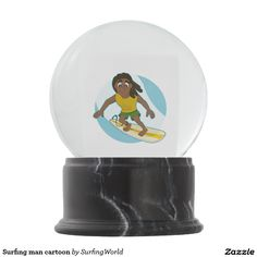 Surfing man cartoon snow globes