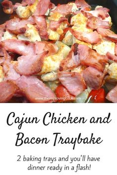 The Improving Cook: Cajun Chicken and Bacon Tray Bake- quick and easy traybake or sheet pan dinner with chicken, bacon , red pepper potato and onion roasted in cajun spices. Great for weeknight meals. Quick Dinner Recipes, Quick Easy Meals, Easy Recipes, Sweet Recipes, Traybake Dinner, Slimming World Recipes Syn Free, Slimming World Chicken Recipes, Cajun Cooking, Cajun Food