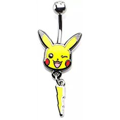 Pokemon Pikachu Lightning Bolt Dangle Charm 14g 7/16 Stainless Steel Navel Ring