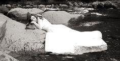 Bride trashing her dress in a Smoky Mountain creek