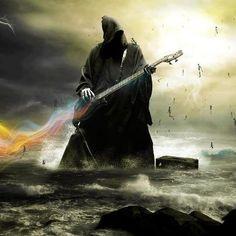 Grim-reaper-dark-fantasy-music-other-digital-art-guitars-wallpaper. Linkin Park, Dark Fantasy, Fantasy Art, Rock N Roll, Bass, Heavy Metal Art, Black Metal, Dark Moon, Music Wallpaper