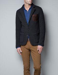 Blaine likes knitted blazers!