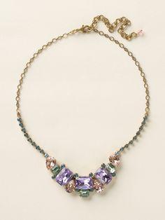 Emerald and Pear-Cut Crystal Collar Necklace in Spring Rain - Sorrelli