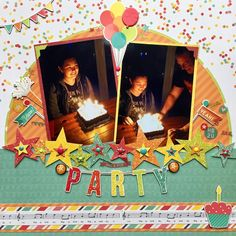 """""""Party"""" using sketch from 30 Days of Sketches at Paper Issues Birthday Scrapbook Layouts, Baby Scrapbook Pages, Kids Scrapbook, Disney Scrapbook, Scrapbook Sketches, Scrapbook Paper Crafts, Scrapbooking Layouts, Scrapbook Cards, Paper Crafting"""