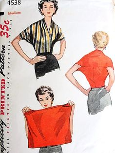 1950s AMAZING Blouse Pattern SIMPLICITY 4538 Simple to Make One Piece Blouse With 2 Seams Surplice V Neckline Front, Draped Shoulders, Day or Evening Style Vintage Sewing Pattern