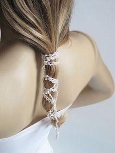Wedding Headband crochet  hairband necklace Wedding by selenayy #headband #wedding #hairaccessories  #weddingheadband #weddinghairband #hair #etsy #crochet #etsyfind #Hairband #Headpiece #GirlsHeadband #gift #white