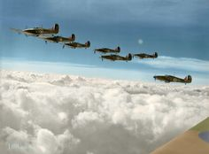 Aircraft Photos, Ww2 Aircraft, Fighter Aircraft, Military Aircraft, Fighter Jets, Raf Bases, Hawker Hurricane, The Spitfires, Colorized Photos