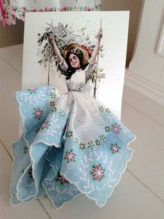Diy Crafts - Harrison Fisher Girl on a Swing Keepsake Hanky Card Diy Arts And Crafts, Crafts For Kids, Fox Crafts, Handkerchief Crafts, Handkerchief Dress, Paper Art, Paper Crafts, Dress Card, Fashion Design Drawings