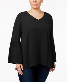 Style & Co Plus Size Metallic Bell-Sleeve Top, Created for Macy's