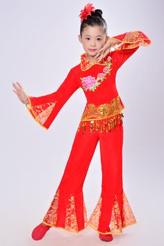 1e5334b206bb Girl Classical Chinese Yangko Dance Costumes Child Chinese Folk Dance  Costume Stage Fan Umbrella Dance Clothing