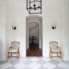 Cottage entry + Chinoiserie Chairs + checkerboard floors