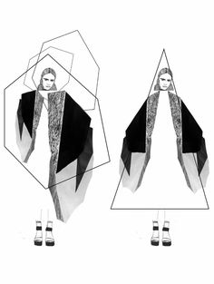 fashion portfolio // Stephanie Lai -like this idea of creating obscure shapes to inspire a garment silhouette Illustration Mode, Fashion Illustration Sketches, Fashion Sketchbook, Fashion Design Illustrations, Drawing Fashion, Sketchbook Layout, Sketchbook Inspiration, Sketchbook Ideas, Design Inspiration