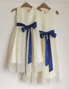 The Dorothy flower girl dress, Cotton and lace girls dress, blue sash on Etsy, $85.23 CAD