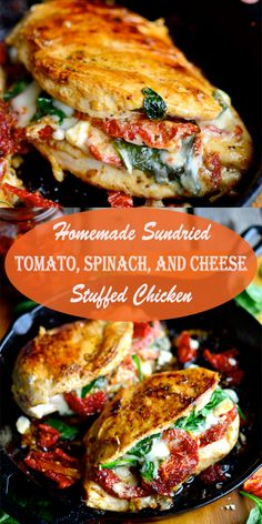 Homemade Sundried Tomato, Spinach, And Cheese Stuffed Chicken Sundried Tomato Recipes, Sundried Tomato Chicken, Chicken Asparagus, Mushroom Chicken, Cheese Stuffed Chicken, Stuffed Chicken Recipes, Baked Chicken, Stuffed Chicken Breasts, Boneless Chicken