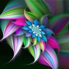 Wicked! Rainbow Flowers, Summer Flowers, Rainbow Colors, Fractal Design, Fractal Art, Image Arc En Ciel, Art Abstrait, World Of Color, Pics Art