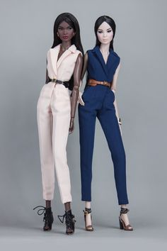 """SHANTOMMO has been making jumpsuits and """"Androgyny"""" is one of our most favourite. With notched collars, these jumpsuits in hue of blush and navy is ready to be admired at the dolls' street runways."""