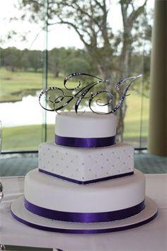 Amanda's Cakes and Invitations - Wedding Cakes- purple white silver round square round wedding cake