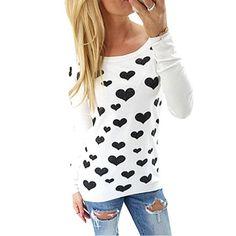 2016 primavera verano mujeres camiseta ocasional de la impresión del corazón Tops manga larga O cuello de tocar fondo Blusa Feminina