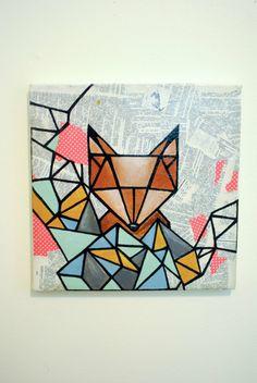 17 Trendy geometric art projects for kids geometry Geometric Shapes Art, Geometric Fox, Art Fox, Masking Tape Art, Arte Van Gogh, Shape Art, Art Images, Art Lessons, Painting & Drawing