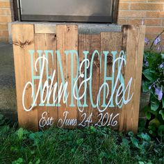 Rustic pallet wood sign.  Wedding/initials/established.  Available for order under Barn Door Boutique Shop on FB and Etsy!