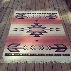 Vintage Pink Southwest Navajo Inspired Print Wool by SECONDREVIVAL, $425.00