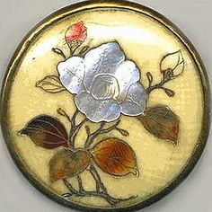 Beautiful Shibayama Button of etched and inlaid Ivory. Large inlaid MOP Flower.